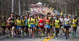 Boston Marathon lead pack
